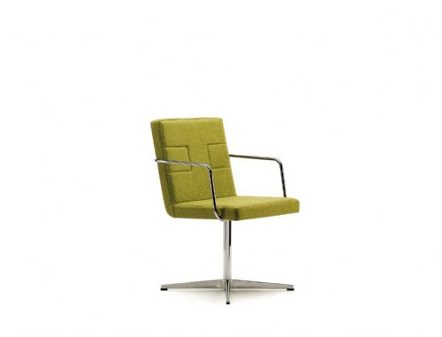 Pledge Tonic Upholstered Swivel Chair With Chrome Arms And 4 Star Polished Aluminium Base